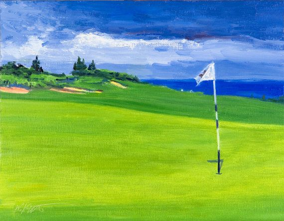 Impressionist golf landscape painting Kapalua by WarrenKeating, $400.00