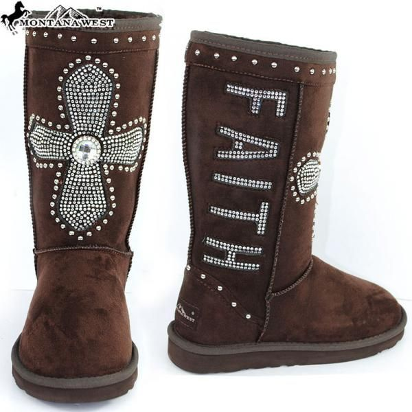 Montana West Brown FAITH Cross Boots