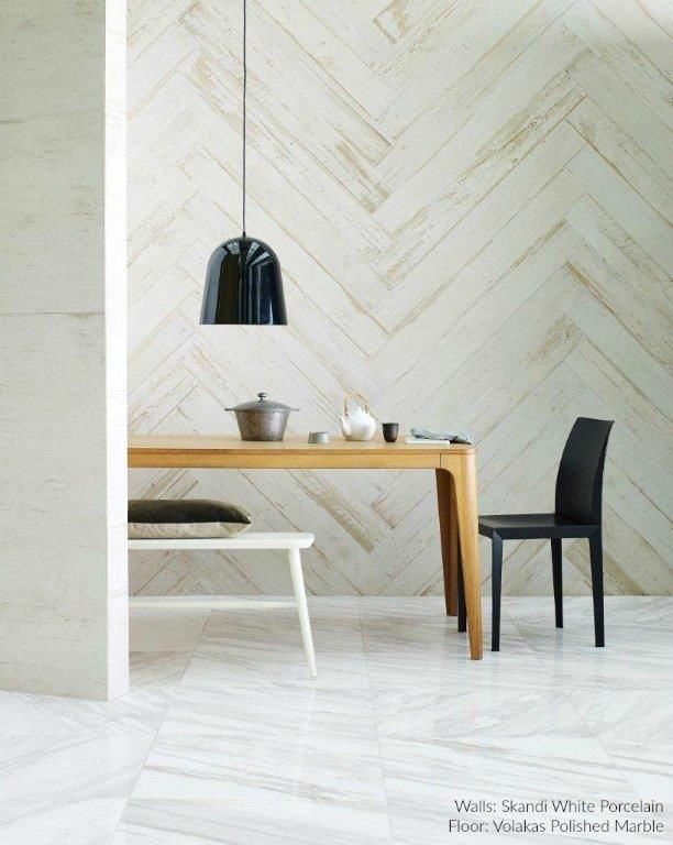 light airy style dining space showcasing volakas marble flooring u0026 skandi wood effect porcelain planks