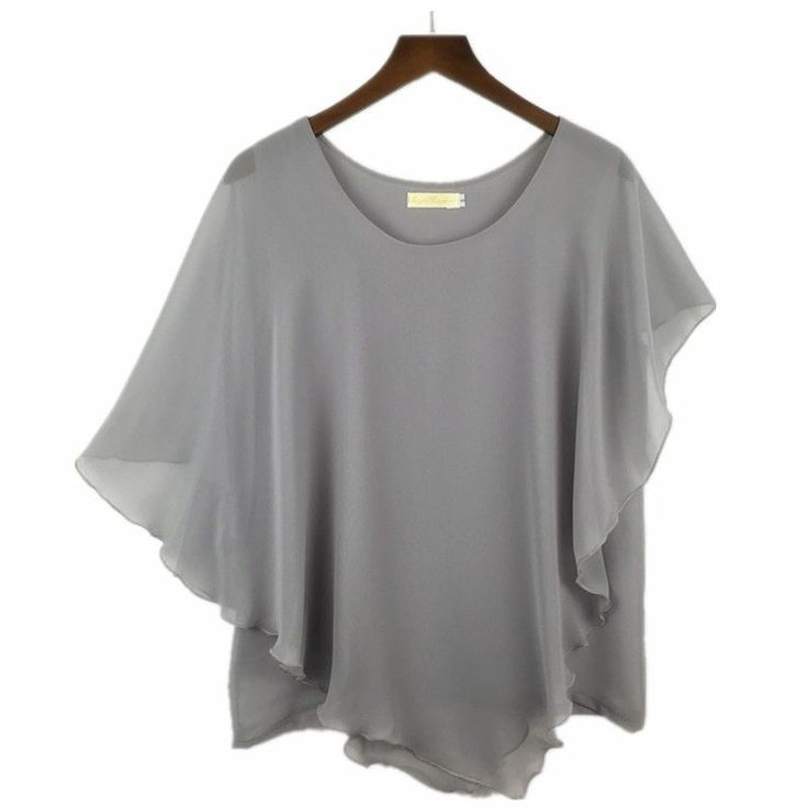 Plus size S-6XL Ladies Chiffon Blouses Shirt Batwing Asymmetric Sleeves Grey #Unbranded #Blouse #Casual