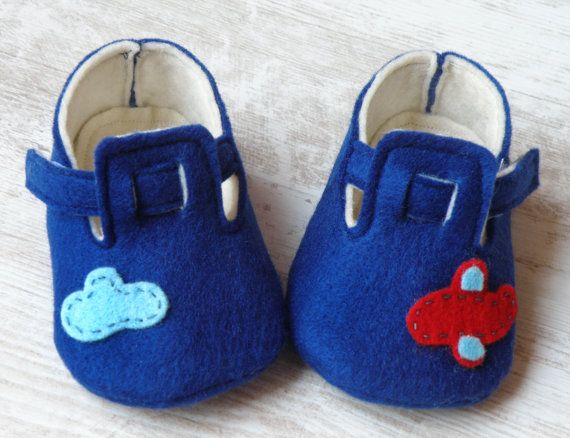 Baby felt shoes Blue booties and slippers for by Melimebabybeeshop, $30.00