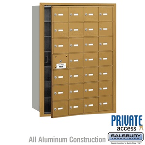 28 Door (27 Usable) 4B  Horizontal Mailbox Gold Front Loading A Doors Private Access