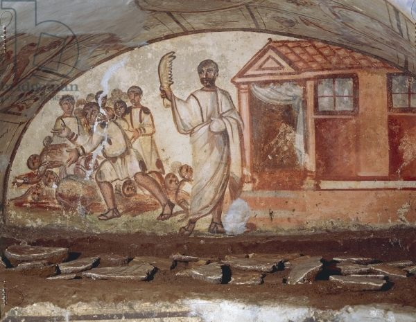Fresco from the interior of a Via Latina Catacomb (fresco). Roman, (4th century AD). The panel depicts the story told in Judges 15:14-17 of the battle between Samson and the Philistines, in which Samson kills a thousand men with the jawbone of a donkey; Catacomb of Via Latina, Rome, Italy