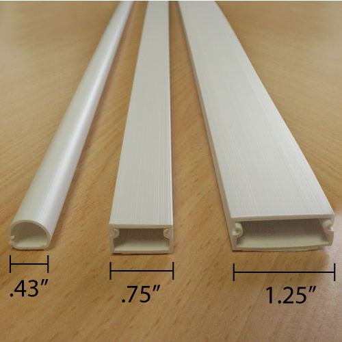 Wall Cord Covers - Two Piece cable raceway with adhesive backing for easy installation. Protects cables on walls.  Can be painted to match any decor strong adhesive backing even works on masonry.