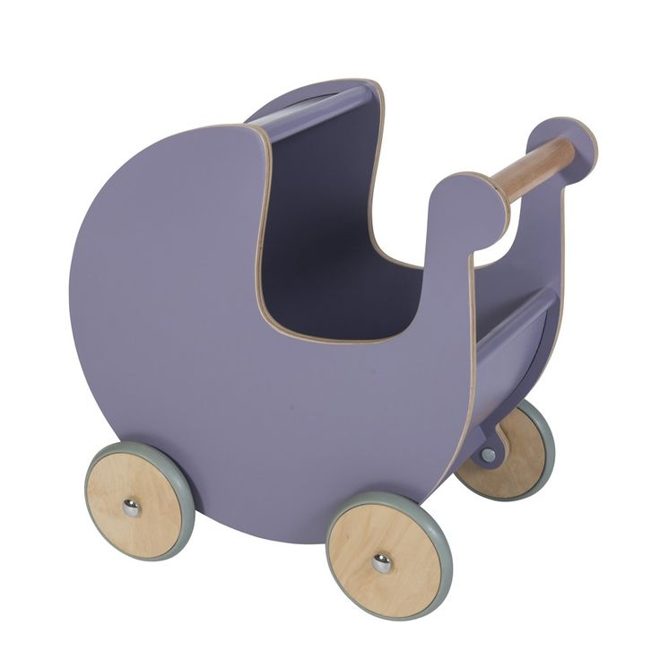 Sebra dukkevogn i træ - Lilla - Tinga Tango Designbutik  #dukkevogn#legetøj#børneværelse#sebra