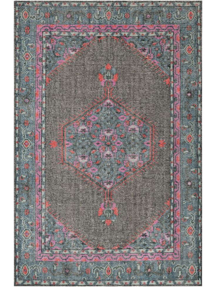 Mirabelle Rug, Gray and Teal