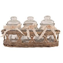 Pretty basket with glass jars
