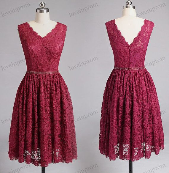 Short Burgundy Lace Bridesmaid Dresses Wine Red by loveinprom