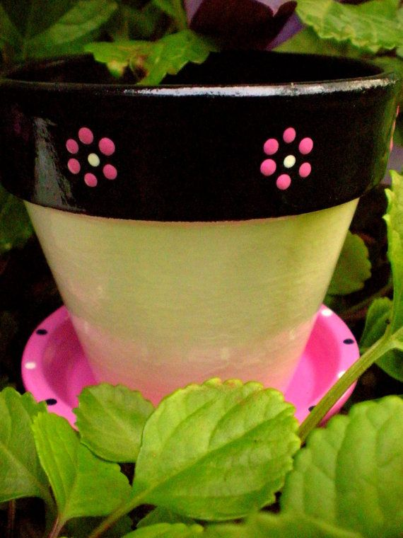 Birdhouse and Flower Pot Set - Pink Black and White - Gardening Gift