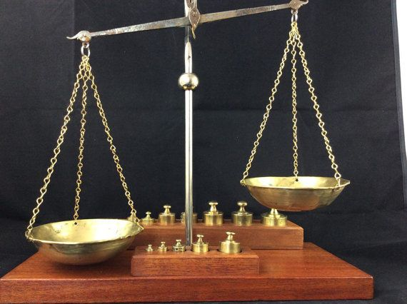 Balance scale, vintage scale, brass weights, brass scale, scale weights, precision scale, wooden scale, set of weights  This is a beautiful