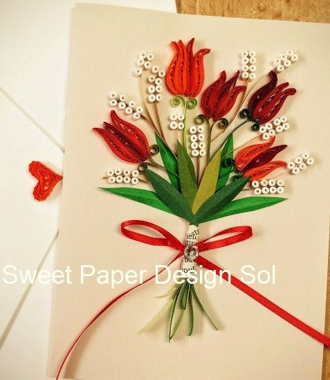 Paper Quillied beautiful Tulip Bouquet - Mothers day,Happy Birthday,Congratulations , Happy Anniversary Card by SweetPaperDesignSol on Etsy
