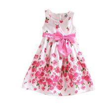 Verano Dulce Niña Niños Vestido de Una Sola Pieza Sin Mangas Del Vestido Vestidos de Princesa Floral Vestido de Partido del Bowknot Vestido de Tirantes 2-6 Años(China (Mainland))