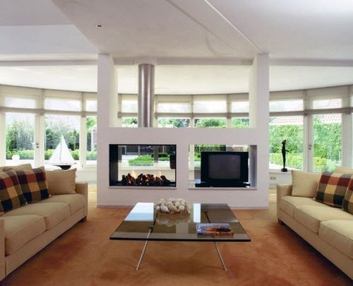 contemporary double-sided fireplace (wood-burning closed hearth) - AR 002 - ArchiExpo