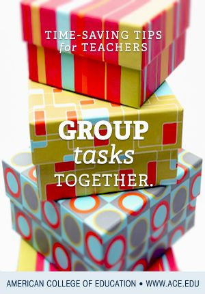 Save time and work smarter by grouping tasks together. Need to distribute materials quickly? Try grouping everything you need for each day in brightly colored boxes, one for each table. Designate a student helper or a classroom manager to get the boxes each day, and you immediately save twenty minutes or more by not having to pass out materials...