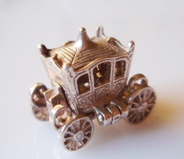Vintage Silver British Coronation Coach Charm or Pendant Opens.