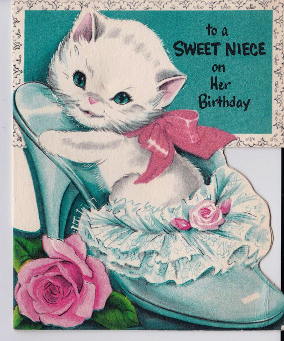 Vintage To A Sweet Niece On Her Birthday Kitten and Shoe Greetings Card (B11)