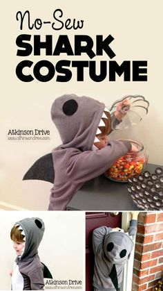 """{No-Sew Shark Costume} Love the simplicity of this... Do you let your kids go out in public all year in costume? I admit I am that mom who has a """"princess"""" in March at the grocery store. I love that this design could be used at any time!"""