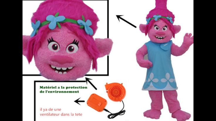 MASCOTSHOWS Les Trolls Poppy Mascotte Costume Deguisement des film d'ani...