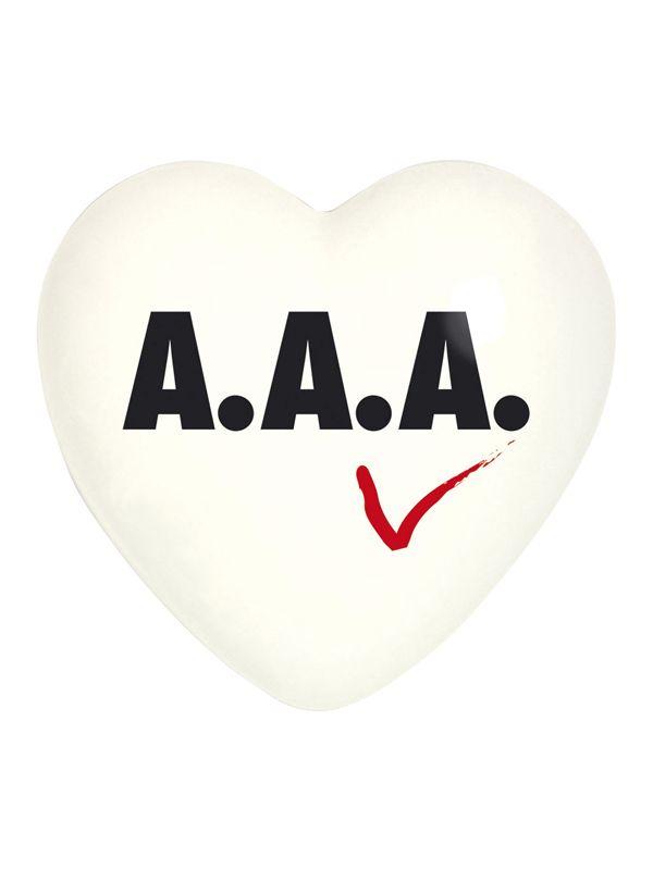Cuore A.A.A. Creativando | Coquelicot Design Cuore in ceramica realizzato a mano in Italia. Oggetto di design può essere usato come semplice elemento decorativo, oppure scelto per il suo particolare messaggio. Decorato fronte e retro.