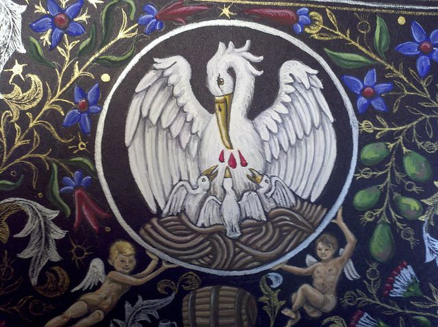pelican - ancient symbol of Christ and the church. Mother pelican sacrifices herself, her own blood, for her children.