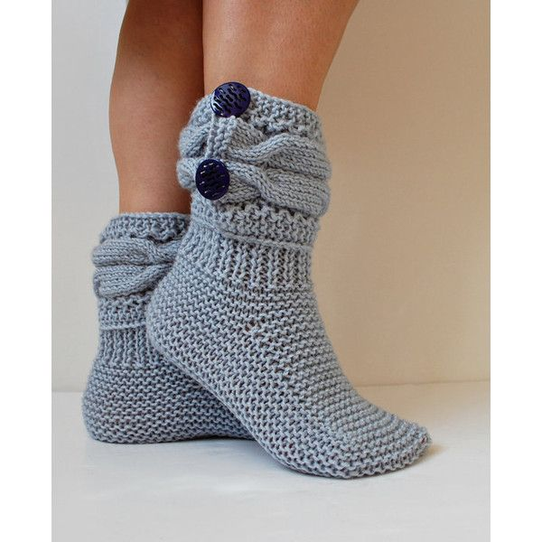 Slipper Boots, Gift for Her, Crochet Boots, Wool Knitted Slippers,... ($23) ❤ liked on Polyvore featuring shoes, wool shoes, blue shoes, macrame shoes, long winter boots and long shoes