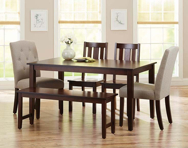 Better Homes And Gardens 6 Piece Dining Set With Parsons Tufted Dining Chairs Bench Fine