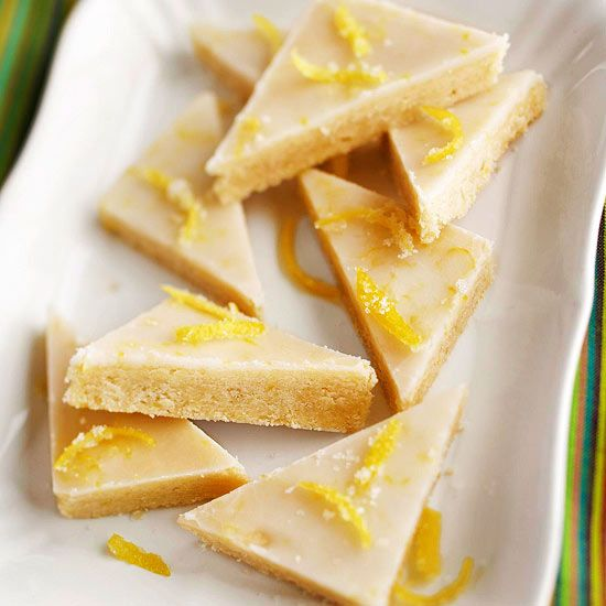 Lemony Glazed Shortbread Bars:  Add delicious citrus accents to these shortbread bars with a sweet lemon glaze. Refreshing lemon perfectly balances the rich and buttery white chocolate shortbread.