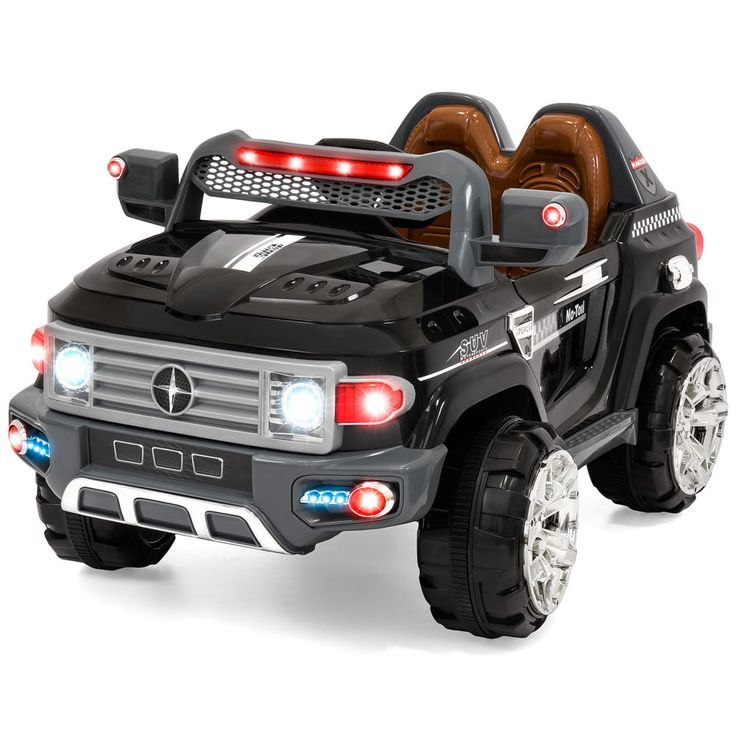 12V Kids Ride on Truck Car 2 Speed RC Remote Control LED Lights MP3 Music Black #BestChoiceProducts