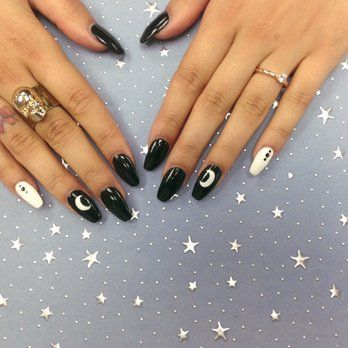 Black and white coffin nails with a crescent moon - Bella Paris Nails & Spa