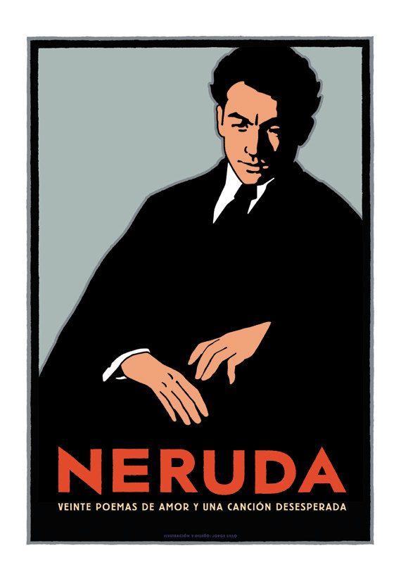 Póster Pablo Neruda  por Ilustrador JotaLillo / Pablo Neruda poster by JotaLillo Ilustrator