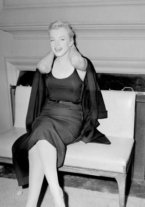"""Marilyn Monroe during a press conference about her upcoming marriage to Arthur Miller, 1956. """