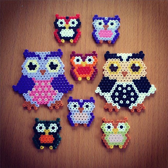 Owls perler beads by Linda Sjöberg