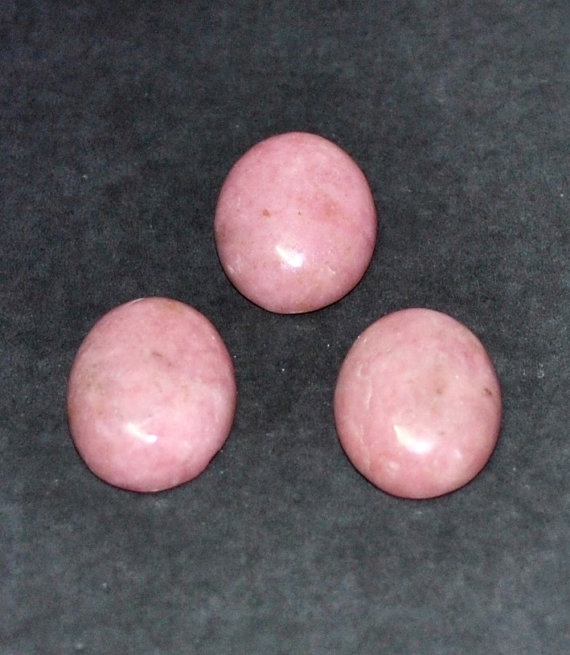 Natural Rhodonite Oval Cabochons  3 pcs Parcel  16.0 x 12.0 x 5.2 mm by AliveGems, $7.50