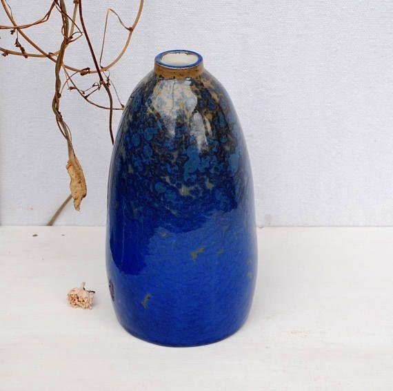 Blue crystalline pottery vase cobalt blue crystal pottery
