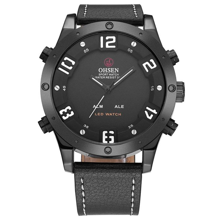 Cheap #1 OHSEN Dual Display Digital Quartz Men Watch Water-Proof Casual Wristwatch Genuine Leather Cool Man Sports Watch Backlight/Alarm Masculino Relogio Online Shopping | Tomtop