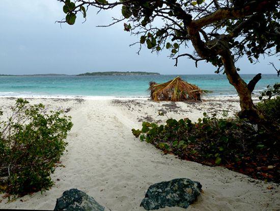 Beautiful Blue Beach and Isla de la Chiva on vieuques island