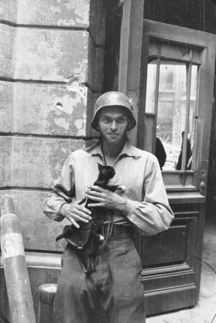 "Warsaw uprising. ""Photographer Eugeniusz Lokajski with a cat in front of the townhouse at 12 Moniuszki Street."""