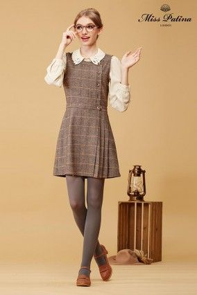 Primrose Pinafore (Tweed Plaid)