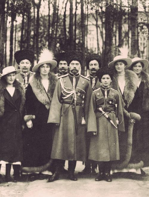 Emperor Nicholas II of Russia with his five children: Grand Duchesses Olga, Tatiana, Maria, Anastasia, and Tsarevich Alexei. Photograph taken at Mogilev, 1916.