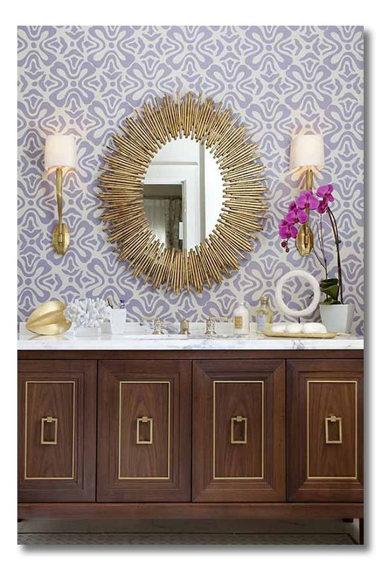 Bathroom by Tineke Triggs of Artistic Designs for Living: Bathroom Design, Cabinets, Vanities, Interiors Design, Bathroom Mirror, Bathroomdesign, Gold Accent, Contemporary Bathroom, Powder Rooms