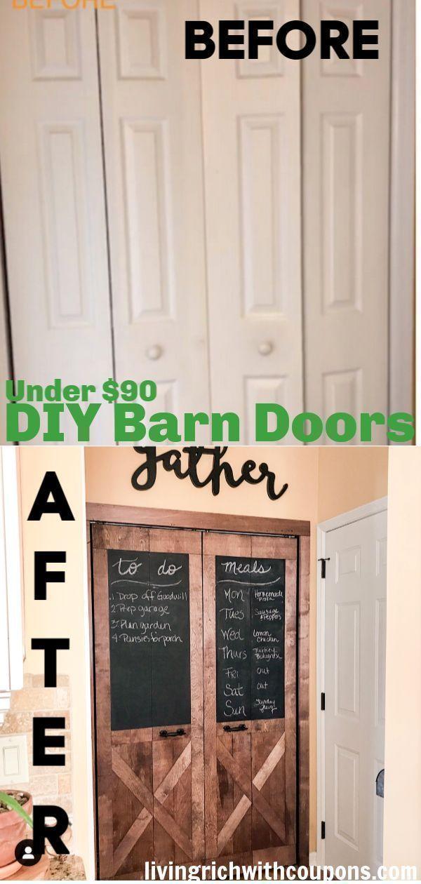 Diy Barn Doors Turn White Bi Fold Doors Into Barn Doors For Under 90 In 2020 Diy Barn Door Diy Farmhouse Decor Farmhouse Diy