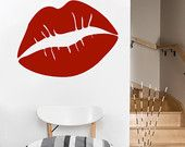 large Lips, kiss, love, vinyl Wall DECAL- sticker art, room, home decor