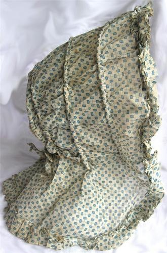 1850s Semi Sheer Blue Green White Cotton Print Drawn Bonnet Hand Sewn | eBay