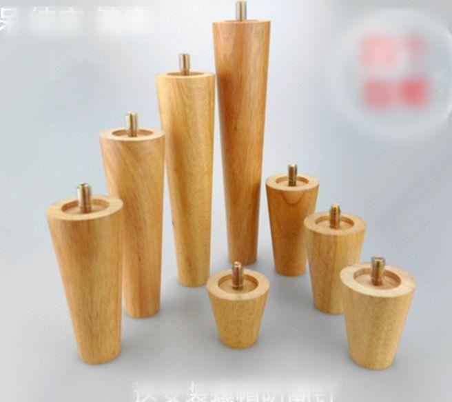 4 UNIDS/LOTE H: 12 CM Diámetro: 4-6.5 cm Armario de Madera Maciza Sofá Piernas Pies