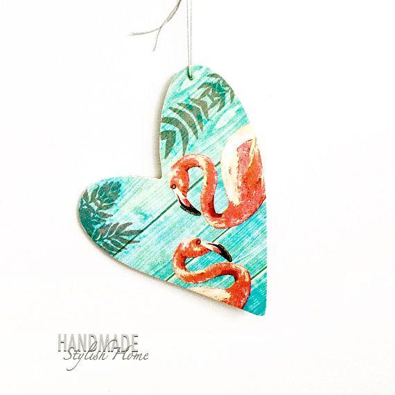 pink flamingo wooden heart pink flamingo hanging heart heart