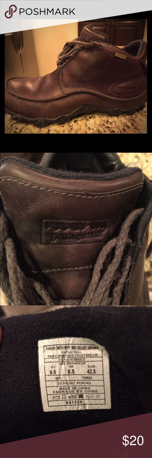 Men's Waterproof Patagonia Hikers 9.5 Men's Brown leather gently used Sz 9.5. Great shoes just got a new pair. Patagonia Shoes Athletic Shoes
