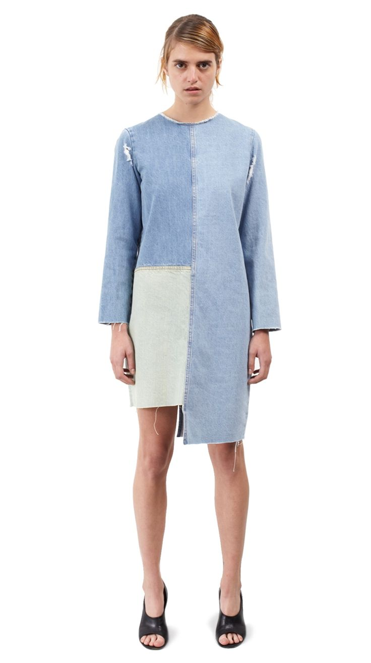 Patchwork multi bleached denim mini dress in an easy fit. Aries' Fundress has contrast jeans topstitching, long sleeves and raw edges throughout.