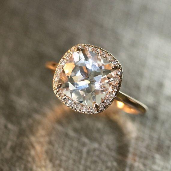14k Rose Gold White Topaz Diamond Halo Engagement Ring 9x9mm Cushion White Gemstone Ring (Bridal Wedding Ring Set Available)