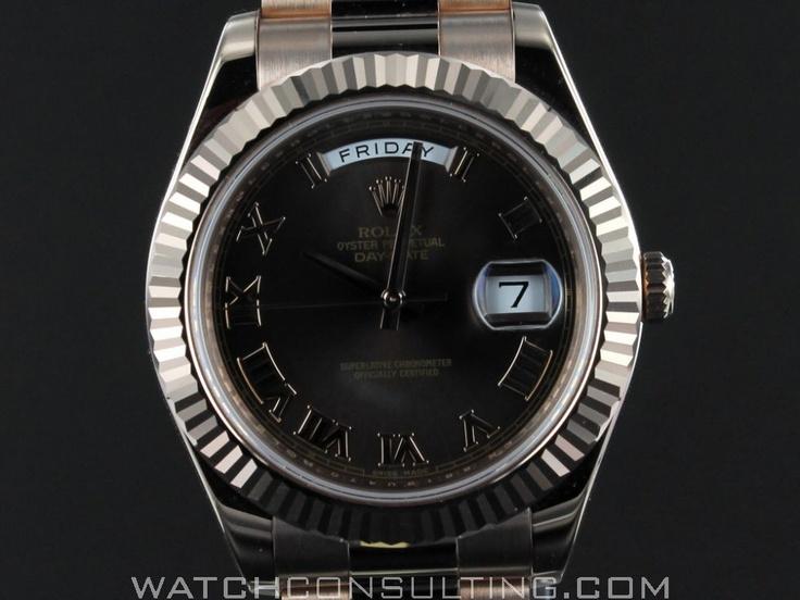 Vente et location de montres de luxe d'occasion - ROLEX DAY DATE 2 FULL OR ROSE