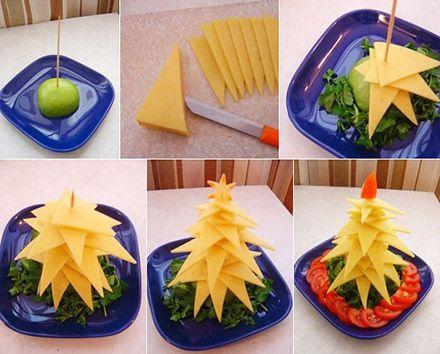 チーズを三角にカットして作るクリスマスツリー